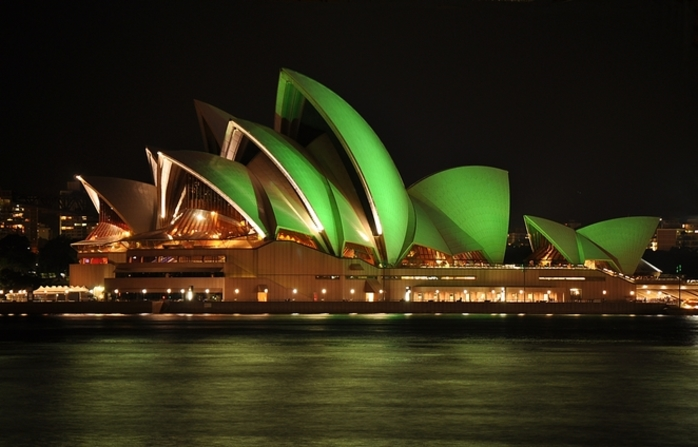 Sydney Opera House Goes Green for St. Patrick's Day